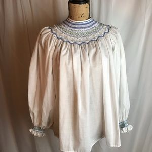 Vintage Handmade Smocked High Neck Peasant Blouse
